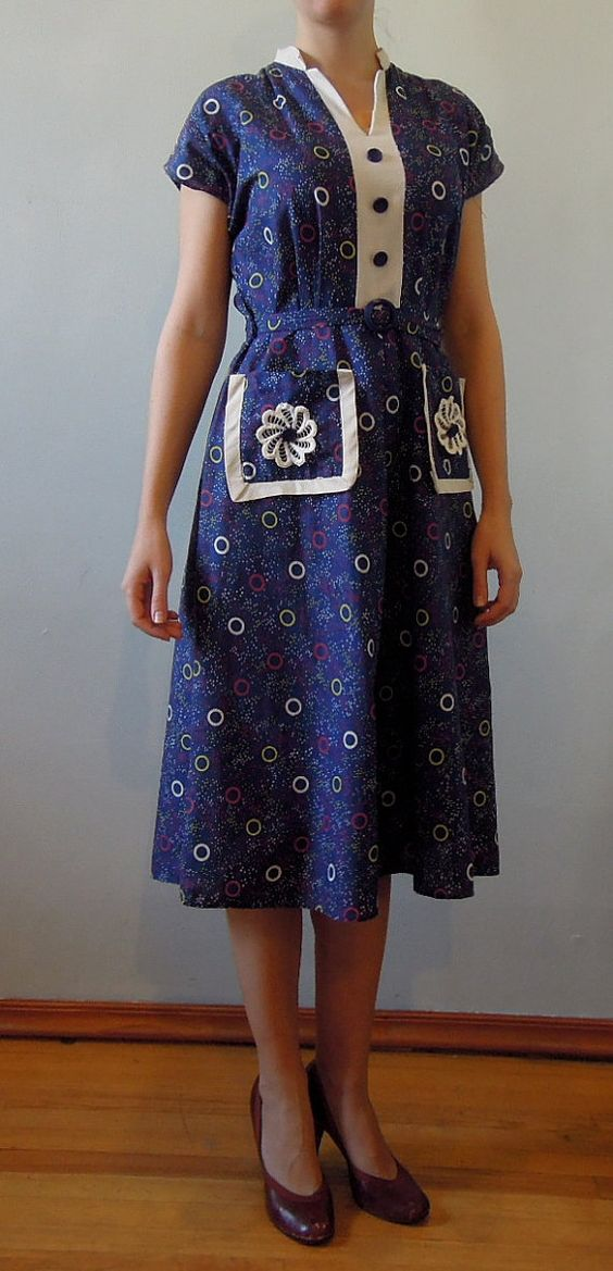 Vintage 1930s day dress Depression era printed cotton by commissar, $89.00