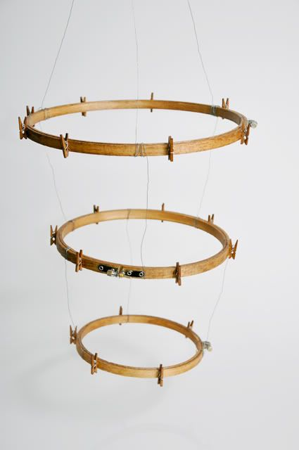 Embroidery hoop mobile.