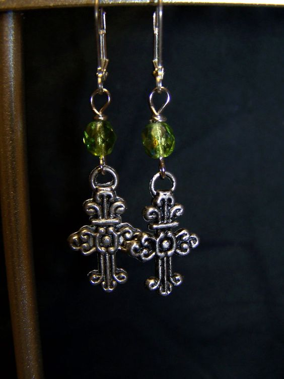 Green Swavorski Crystal Beaded Cross Earrings by momsjewels, $10.00