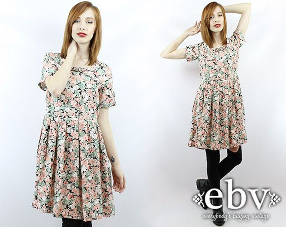 #Vintage #90s #Grunge Floral Babydoll #Dress, fits M/L by #shopEBV http://etsy.me/1fog8lf via @Etsy #etsy #fashion #style #softgrunge, $48.00