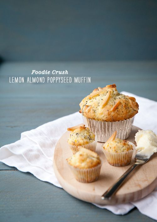 Lemon Almond Poppyseed Muffin (foodiecrush.com)  Looks delicious and I love the composition.