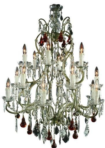 Large Maria Theresa Style Chandelier Amber Murano Glass Pendants 18 Lights P-17