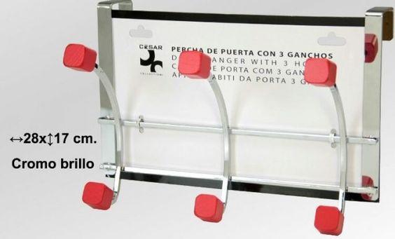 PERCHA ROJA DE PUERTA 3 GANCHOS MADERA   Medias: 28X17cm  Iva incluido  Más colores disponibles