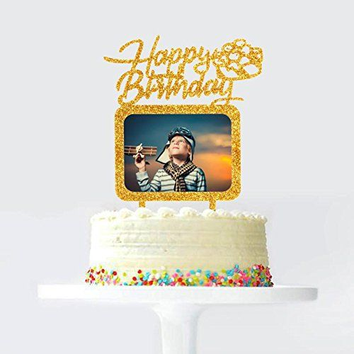 Best Price Gold Happy Birthday Cake Topper With Photo Frame Birthday Girl Boy Woman Man Photo Pi Happy Birthday Cake Topper Birthday Cake Toppers Cake Toppers