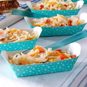 Freezer Slaw Recipe. Very crisp and fresh tasting, loving it on shredded chicken sandwiches and hot dogs.