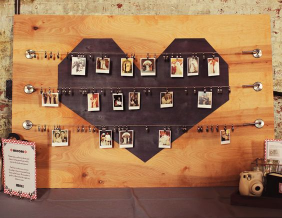 Have your guests snap a photo of themselves with a Fuji Instax and pin it to this sweet board for a very visual guestbook