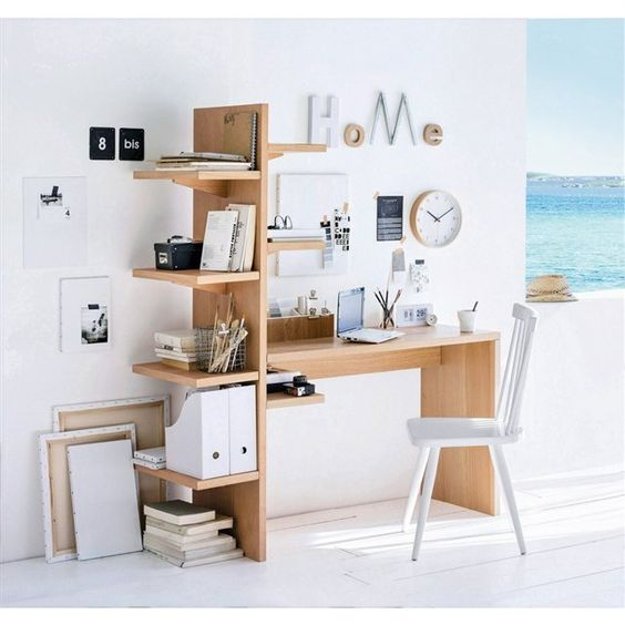 Bureau etagere bois clair 148euros home deco pinterest for Bureau etagere