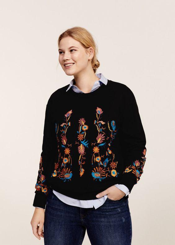 Sweat-shirt broderie florale - Sweatshirts  Grandes tailles | Violeta by MANGO France