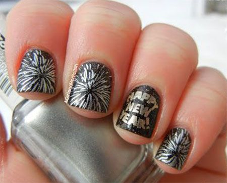 Happy New Year Nail Art Designs Ideas 2014 2015 Girlshue Nail Stam