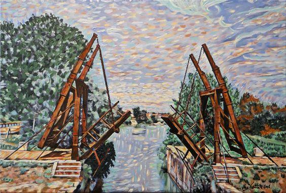 Mag Woźniak, Most Van Gogha, akryl na płótnie, 40x60cm