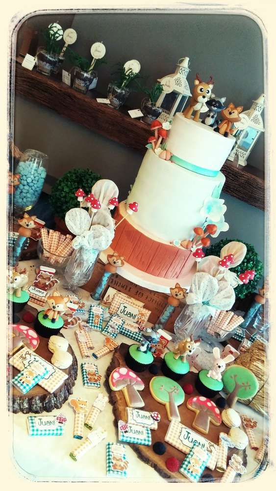 Amazing details at a woodland forest birthday party! See more party planning ideas at CatchMyParty.com!
