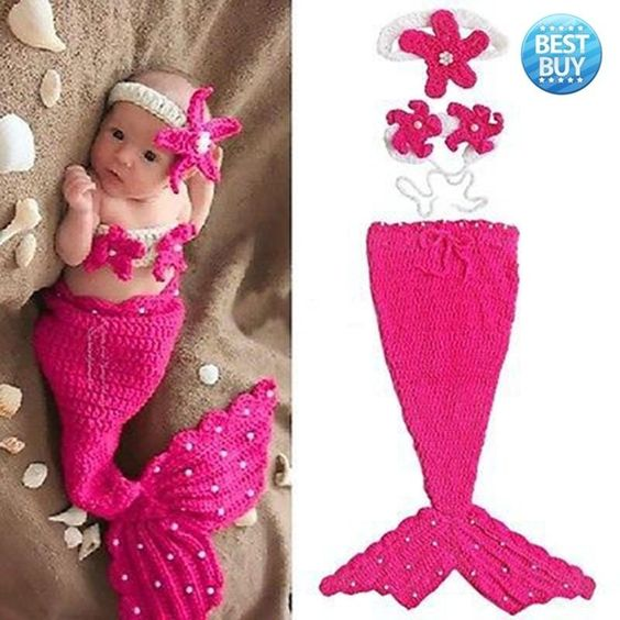Best Baby Girls Newborn 18M Knit Crochet Rose Red Mermaid Costume Photo Prop Outfits  #baby #girls #daddysgirl #hats #dress #divakids #toddler #stylishkids #babies #infant