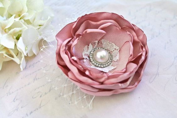 Bridal Hair Accessory Flower Hair clip Dusty Rose by BelleBlooms