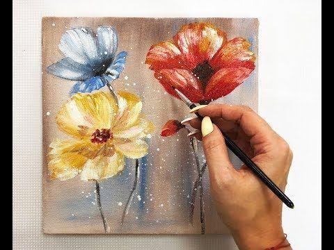 How To Draw Easy Flowers Painting Demonstration Acrylic Technique On Canvas By Julia Kotenko Pintura De Flores En Acrilico Flores Pintadas Pinturas Florales