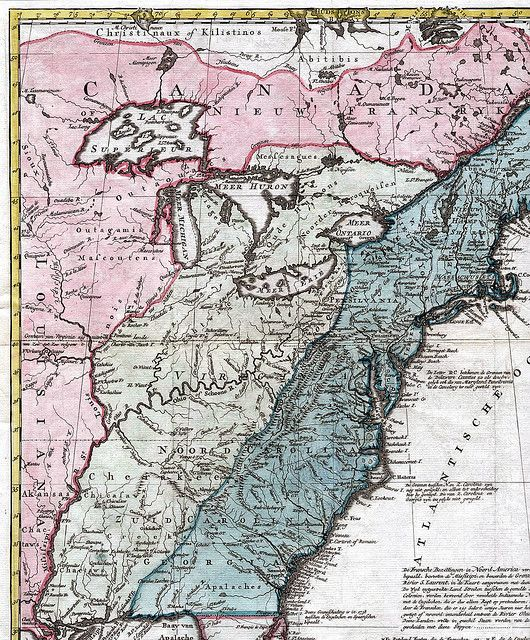Map British North America and New France17541759 old maps of
