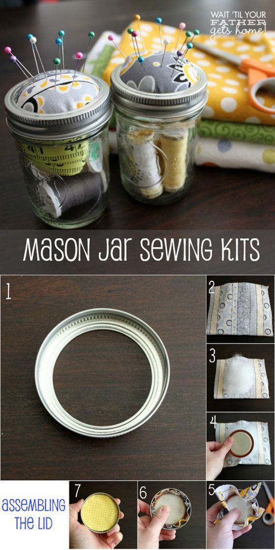 Mason Jar Sewing Kits | DIY Mason Jar Storage Ideas by DIY Ready at  http://diyready.com/mason-jar-crafts-in-15-minutes/