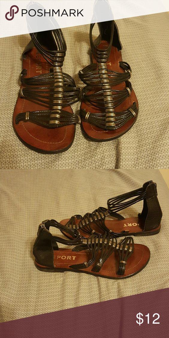 Sandals Black leather gladiator sandals. Report Shoes Sandals