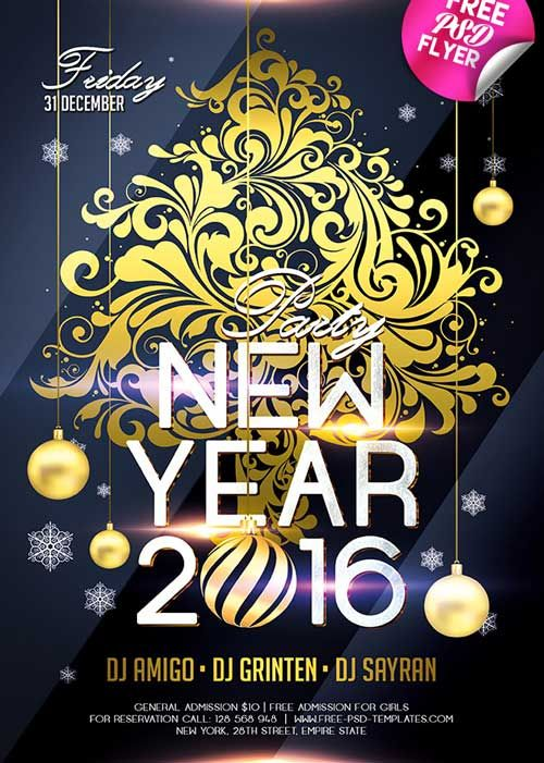 New Year 2016 Free PSD Flyer Template freepsdflyer – Free New Years Eve Flyer Template