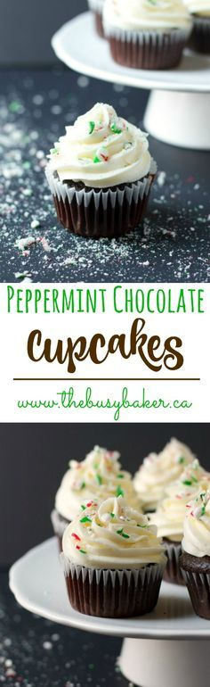 These Peppermint Chocolate Cupcakes are the perfect treat for the holidays! www.thebusybaker.ca