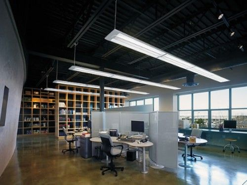 Great idea for open space and open ceilings industrial for Commercial office space design ideas