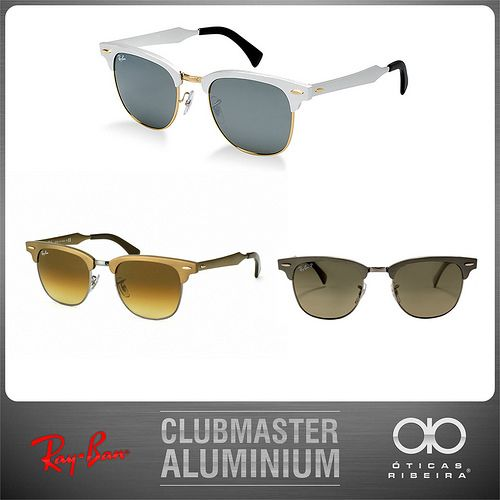 Um dos óculos de sol mais cobiçados atualmente é o novo Ray Ban Clubmaster Aluminum! Totalmente repaginado, reinventado pela Ray Ban de uma forma muito moderna: em alumínio! O Clubmaster Aluminum da Ray Ban está disponível em 3 cores para todo o Brasil, com frete grátis para o sudeste! http://produto.mercadolivre.com.br/MLB-555251957-novo-clubmaster-aluminum-ray-ban-frete-gratis-sudeste-_JM