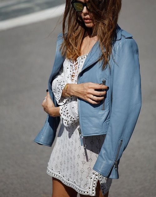 Blue leather jacket and white lace dress