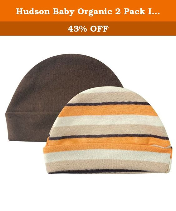 Hudson Baby Organic 2 Pack Infant Caps, Brown and Orange. Touched by Nature Organic Caps 2pk by Hudson Baby are made from 100% organic cotton that is soft and gentle on baby's skin. These caps come in a set of 2 that coordinates with the Touched by Nature animal collection. Fits infants 0-6 months.