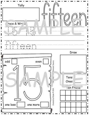 Number Practice Sheets 13-16 - Each sheet contains ten frame ...