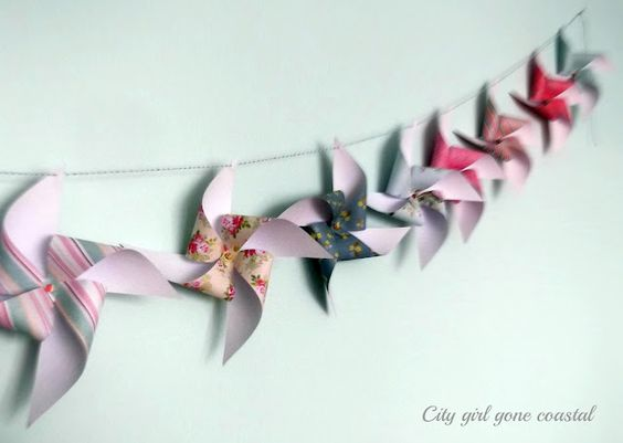 Pinwheel bunting - lovely and different from CityGirlGoneCoastal + tutorial