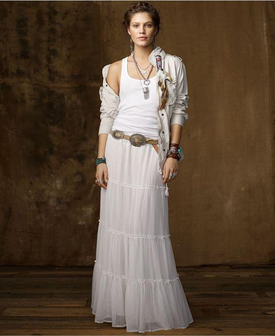 Denim \u0026amp; Supply Ralph Lauren Skirt, Broomstick Crinkled Tiered Maxi - Womens Skirts - Macy\u0026#39;s