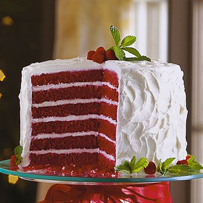 They gave a great tip for this pretty 6 layer cake....buy 6 disposable 8'' cake pans so that you can have the next 3 pans ready to go into the oven when first 3 come out.  It will take 2 recipes of my husband's fave red velvet!: Layer Cakes, Cream Cheese, Decadent Red, Comfort Food, Red Velvet Desserts, Christmas Cake, Cake Recipes, Red Velvet Cakes