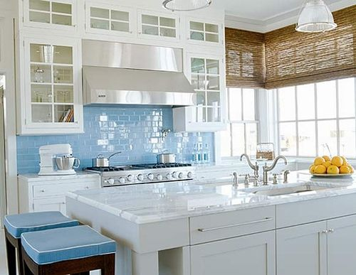 Sky Blue Glass Subway Tile Kitchen Backsplash!  I just love how the color pops & makes this kitchen so bright!  If you are not sure how contact us & we will be glad to help: kraftsmanconstruction@hotmail.com