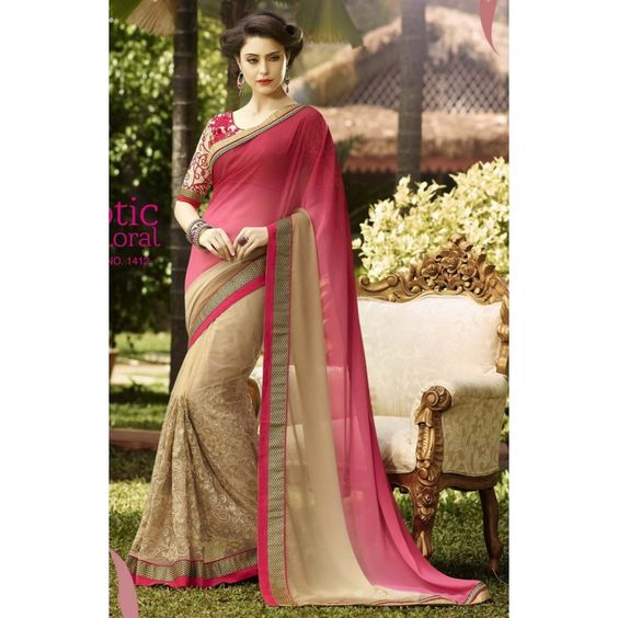 Designer Beige & Pink Chiffon & Georgette Party & Casual Wear Wedding Saree Material -3023(HSF-256 )