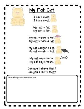 Printables Poem Rhyming Words fat cat an at word family poem and mini lesson cats lesson
