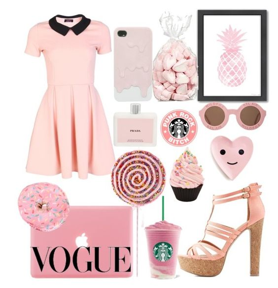 """""""#pink#cute#lovely#"""" by nastya-perfect ❤ liked on Polyvore featuring Americanflat, Wildfox, Prada, Made By Riley and Charlotte Russe"""