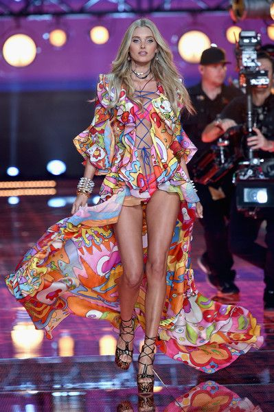 Elsa Hosk from Sweden walks the runway during the 2015 Victoria's Secret Fashion Show at Lexington Avenue Armory on November 10, 2015 in New York City.
