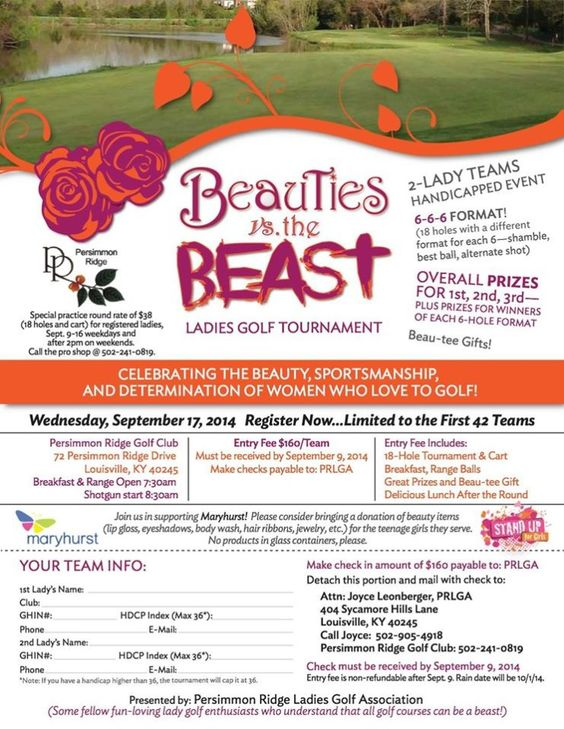 FORE! We are so excited for Beauties vs. The Beast golf tournament! Thank you so much to Persimmon Ridge for hosting!