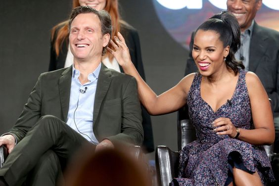 Actors Tony Goldwyn (L) and Kerry Washington of the television show 'Scandal' speak onstage during the Disney-ABC portion of the 2017 Winter Television Critics Association Press Tour at Langham Hotel on January 10, 2017 in Pasadena, California.