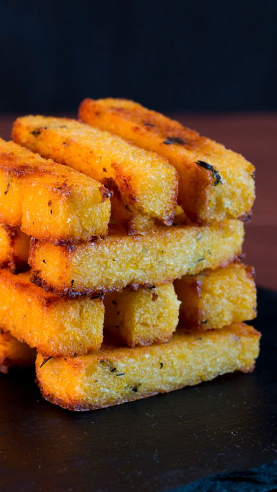 These baked polenta fries are crunchy on the outside and creamy on the inside. It'll be your new favorite snack.