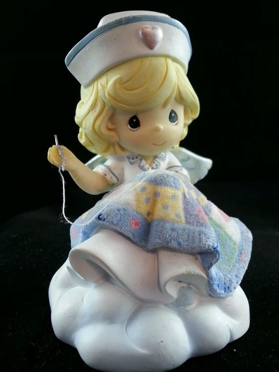 "RARE Precious Moments Blonde Nurse Angel sewing ""Heartwarming & Heaven Sent"""