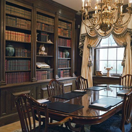 Library dining room love it english tudor interiors for Dining room library