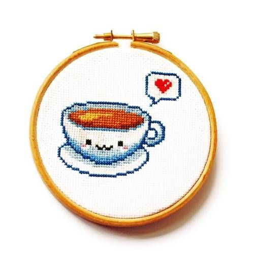 For The Love Of Tea Tea Coffee Cross Stitch Needlework Kawaii Cross Stitch Cross Stitch Cross Stitch Patterns