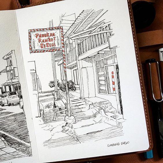 Pangkas Rambut sejak 1950, Simpang dago bandung  #coretanino #travelsketcher #urbansketchers #sketchwalker #bandung