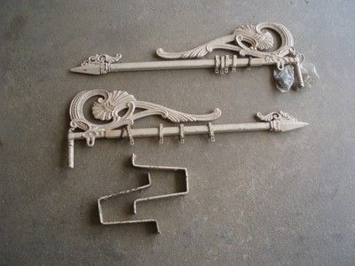 Vintage cast iron swing arm curtain rods victorian brackets and ...