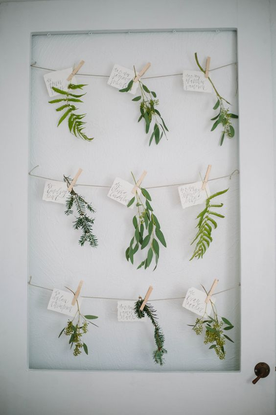 Botanical escort cards // calligraphy and photography by Shannon Kirsten // featured on Grey Likes Weddings