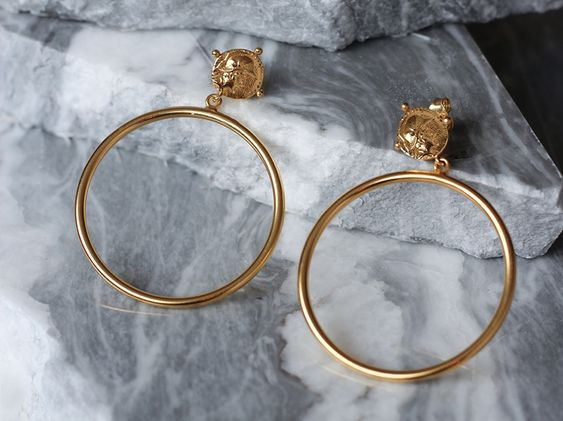 Lucy Williams Gold Coin Chandelier Hoops 18ct Gold Plated Gold Coins Buy Gold And Silver Gold