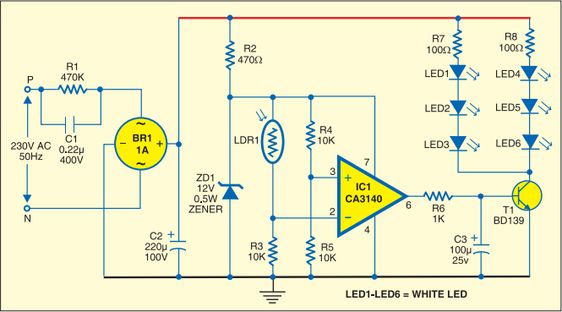 Simple Strip Led Lamp Circuit Diagram Circuit Diagram Electronics Circuit Circuit