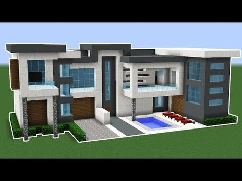 Minecraft How To Build A Modern Mansion House Tutorial 23 Youtube Minecraft Modern Modern Minecraft Houses Minecraft Mansion