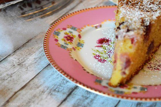 """SchokoladenFee: Buttermilch Kokoskuchen mit Kirschen zum Ich backs mir - Thema """"Schneegestöber"""""""