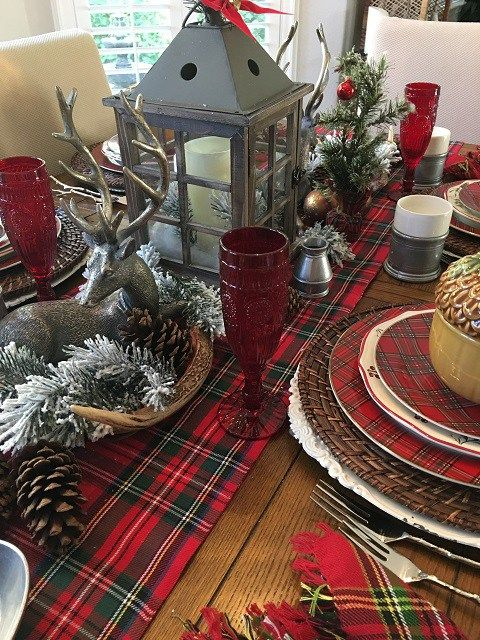 A Pewter And Plaid Tablescape Reminiscent Of Colonial Days Taverns Christmas Buffet Table Christmas Table Decorations Xmas Decorations